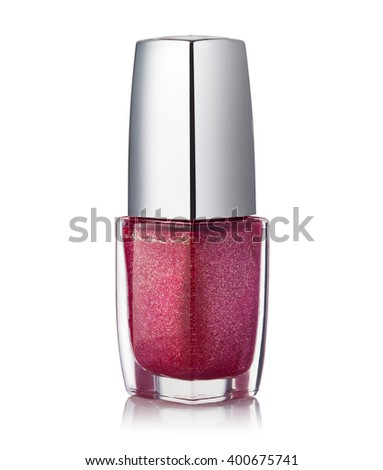 red nail polish bottle on white background