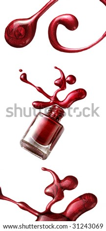 red nail polish bottle with splatters isolated on white background - stock photo