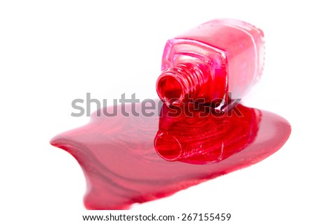 Red Nail Polish Closeup isolated on the white background