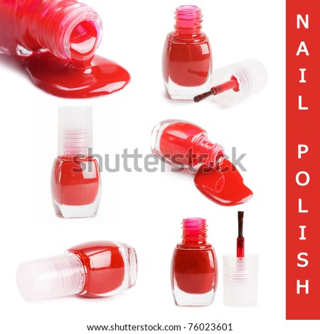 Red nail polish isolated on a white - stock photo