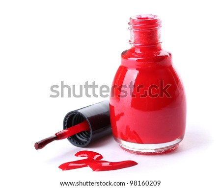 red nail polish isolated on white - stock photo