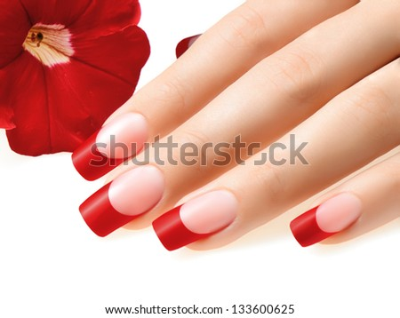Red nails. - stock photo