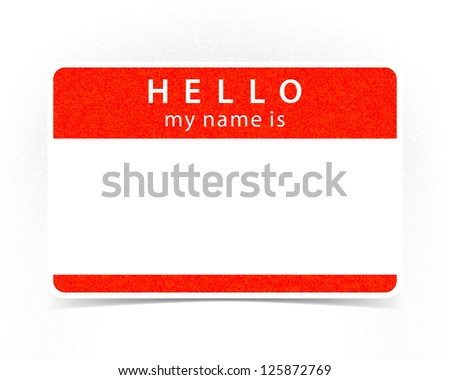 Red name tag empty sticker HELLO my name is with drop gray shadow on white background. This image is a bitmap copy my vector illustration - stock photo