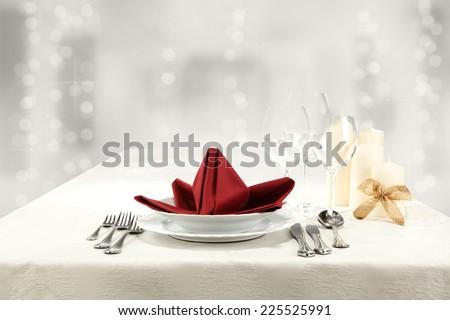 red napkin of xmas food  - stock photo