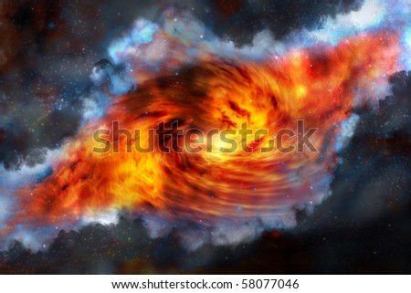 Red Nebula black hole with blue clouds - stock photo