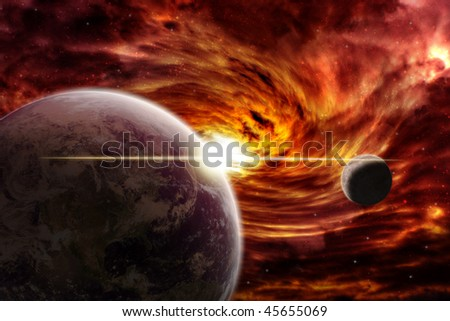 Red nebula over the planet earth - stock photo