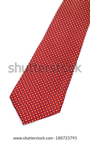 red neck tie isolated on white background - stock photo
