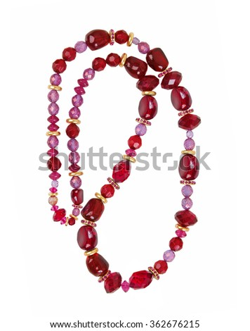 red necklace isolated on white background - stock photo