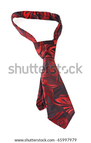 Red necktie isolated on white background - stock photo