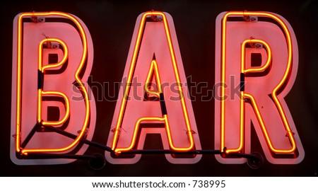 Red neon bar sign, manhattan, new york, new york state, america, usa - stock photo