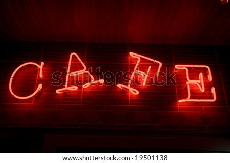 "red neon ""cafe"" inscription - stock photo"