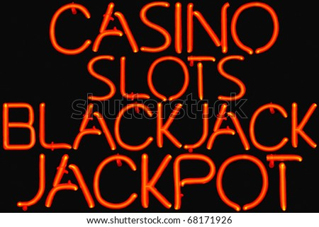 Red neon sign for a Casino. - stock photo