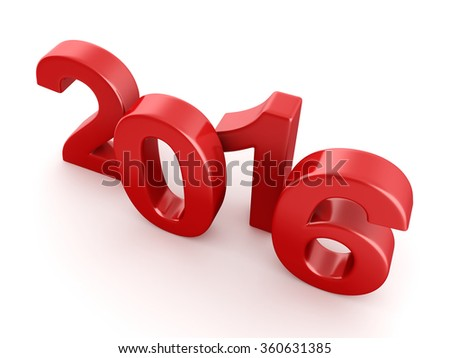 Red 2016 New Year digits on white background