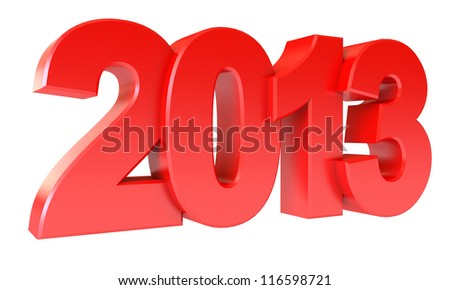 Red new year 2013. Isolated on white background. 3d render - stock photo
