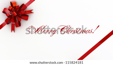 Red new year postal, envelope on white with the red bow on white - stock photo