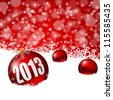 red new years background with snowflakes and christmas balls - stock photo