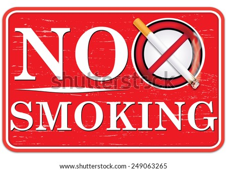 Red No Smoking sign for print. Contains a realistic lighting cigarette on prohibited sign, on a red background. - stock photo