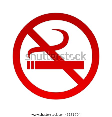 Red no smoking sign on white background. - stock photo