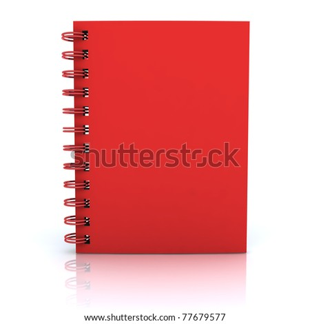 Red notebook. 3D rendered Illustration. Isolated on white. - stock photo