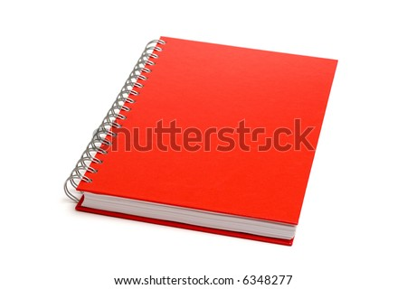 Red notebook isolated on white - stock photo