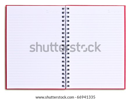 red notebook isolated on white background - stock photo