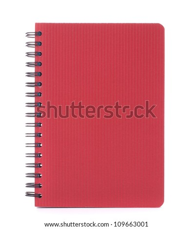 Red notebook isolated on white background cutout