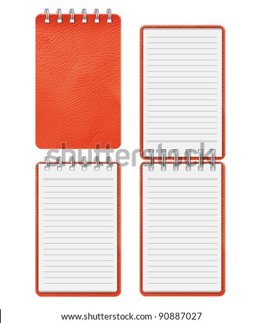 Red  notebook on white background - stock photo