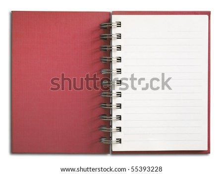 Red Notebook vertical single white page - stock photo