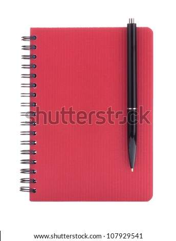 Red notebook with  pen isolated on white background cutout - stock photo
