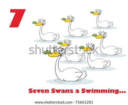 christmas 7th day seven swans a swimming vector illustration saved as ...