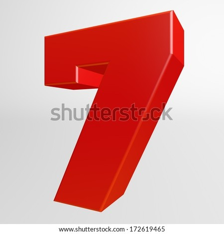 Red number seven on white background