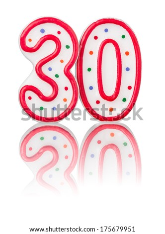 Red number 30 with reflection - stock photo