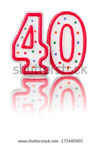 Red number 40 with reflection - stock photo