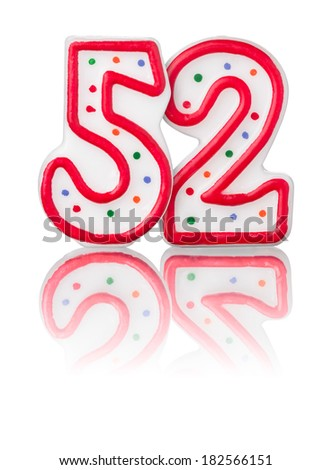 Red number 52 with reflection on a white background - stock photo