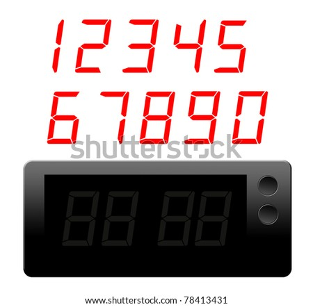 red numbers and black clock  digital over white background - stock photo
