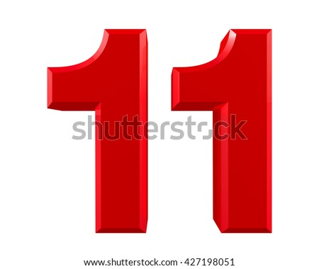 Red Numbers 11 On White Background Stock Illustration ...