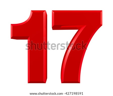 Red numbers 17 on white background illustration 3D rendering - stock photo