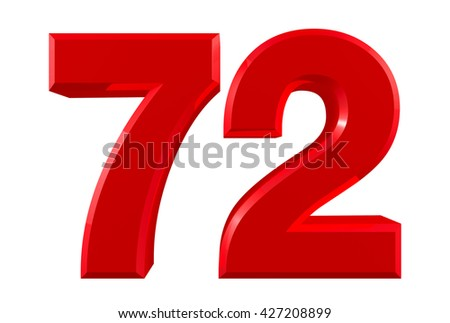 Red numbers 72 on white background illustration 3D rendering - stock photo