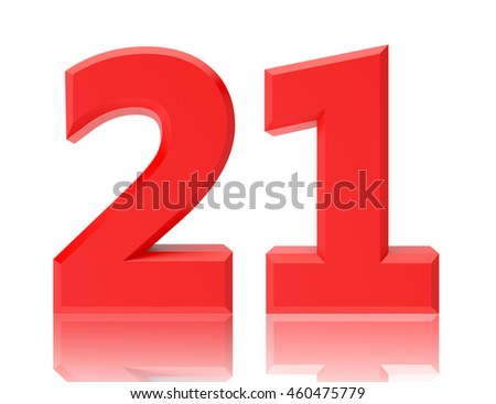 Red numbers 21 on white background illustration 3D rendering