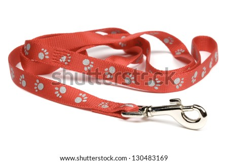 Red nylon dog lead or leash with paw print pattern isolated over white. Soft shadow under lead. - stock photo