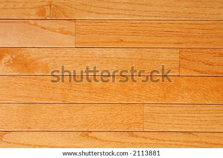 Red Oak flooring with factory finish (topaz color) mid range view - stock photo