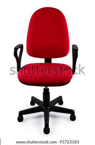 Red office a chair. Object isolated of background - stock photo