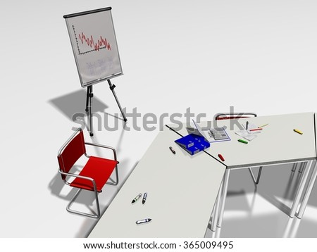 Red office chair, flipchart and a meeting room table with documents and office tools on a white background