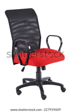 Red office chair isolated on a white - stock photo