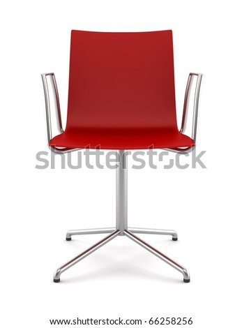 red office chair isolated on white background - stock photo