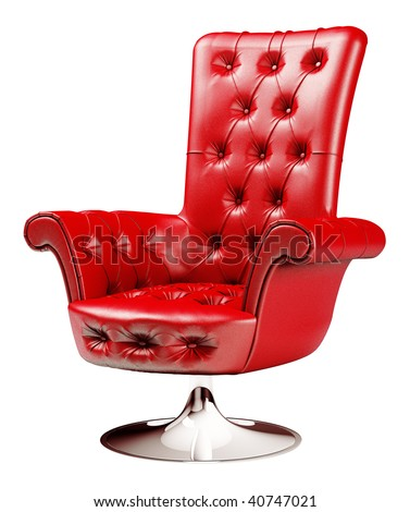 Red office chair isolated over white with clipping path 3d - stock photo