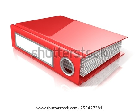 Red office folder. 3D render illustration isolated on white background - stock photo