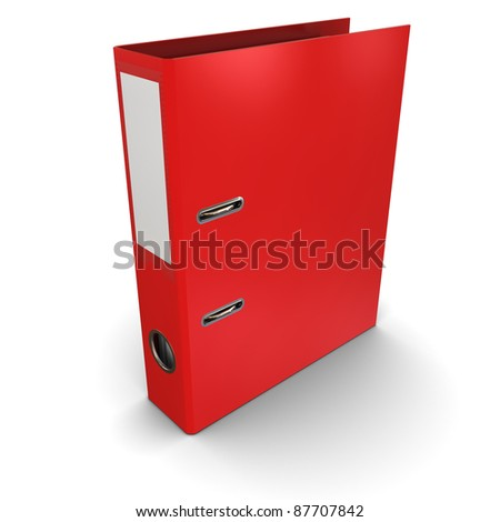 Red office paper folder on a white background - stock photo