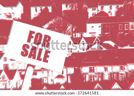 Red offset property for sale signpost and houses