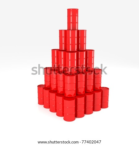 Red Oil Barrels on white set on one another in form of pyramid